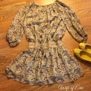 Boho Chic Floral Midi Dress w Crochet Waist & Neck